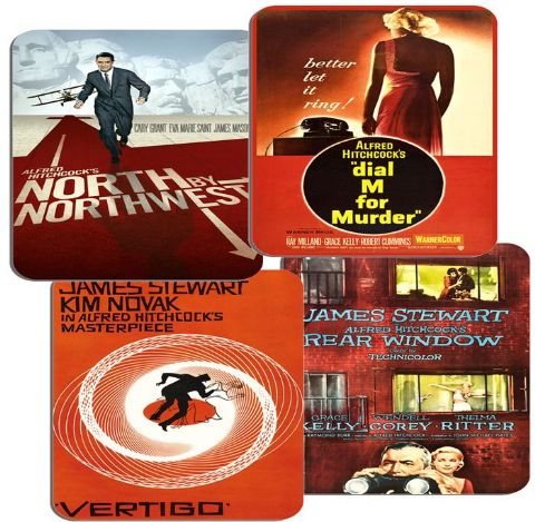 Alfred Hitchcock Movie Film Poster Coasters Set Of 4 Vertigo Rear Window Dial M